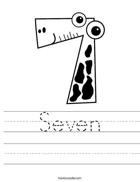 Seven Worksheet - Twisty Noodle | Homeschool math ...