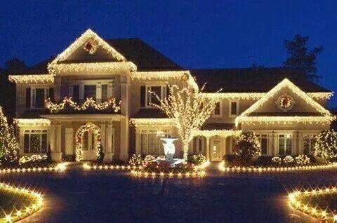 All white outside Christmas lights