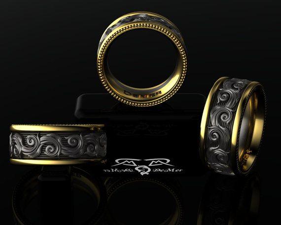 Europäische komplizierte 14kt-Gelbgold, schwarz silber Hochzeit Band Mens oder…