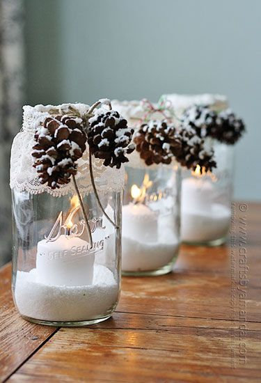 How to make snowy pinecone candles