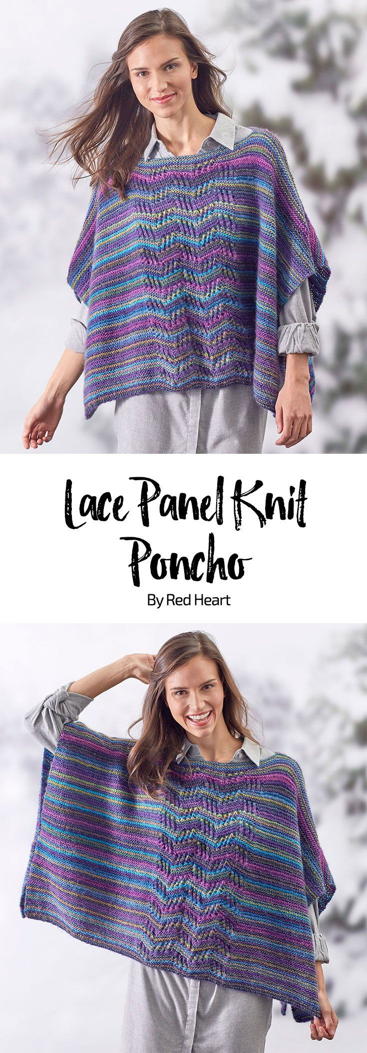 Lace Panel Knit Poncho free knit pattern in Unforgettable yarn.