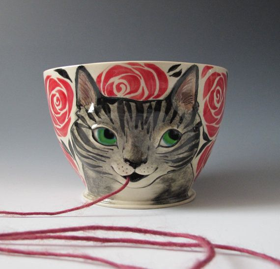 Yarn Bowl - Made to Order Knitty Kitty Cat knitting bowl