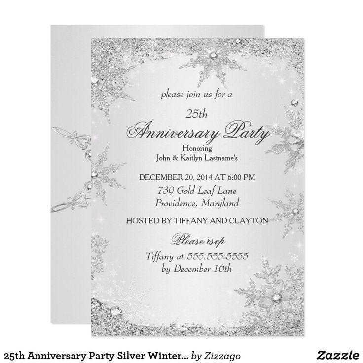 25th Anniversary Party Silver Winter Wonderland Invitation Zazzle Com 25th Anniversary Party Anniversary Invitations Winter Wonderland Invitations
