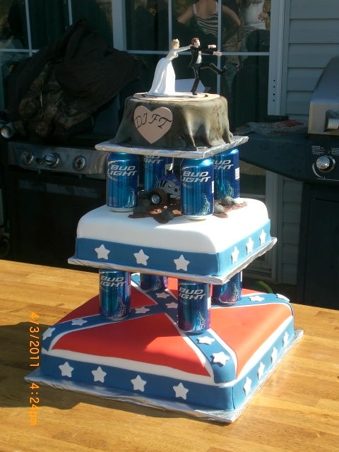 redneck wedding cake: Cakes Ideas, Redneck Wedding Cakes, Bud Lights, Rednecks Cakes, Beer Cakes, Redneck Weddings, Rebel Flags, Rednecks Wedding Cakes, Grooms Cakes