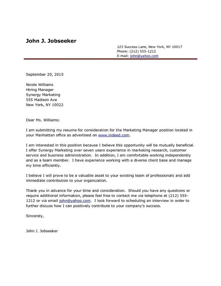 Cover letter sample for job application doc job letter