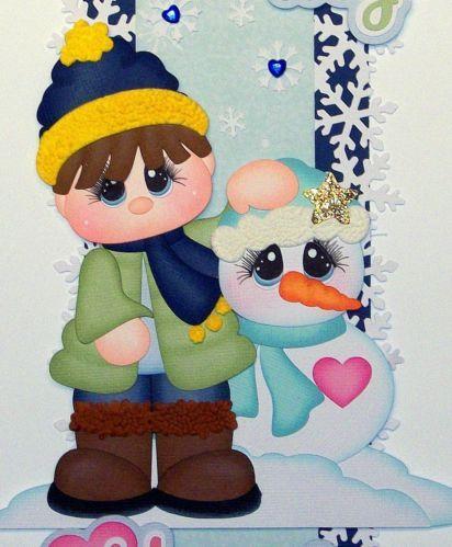 Niño y meñeco de nieve