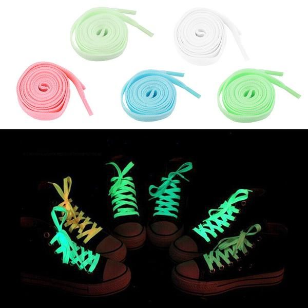 1pc(Not Pair) 100cm Luminous Glow In The Dark Fluorescence Shoelace Shoe Lace Polyester Nylon GREEN,PINK,BLUE,WHITE,YELLOW COLOR