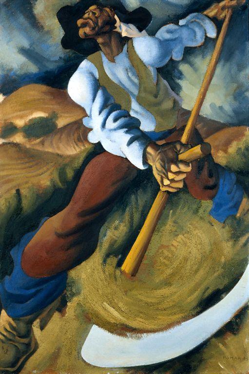 Júlio Pomar (1926-) Gadanheiro, 1945 - óleo sobre aglomerado