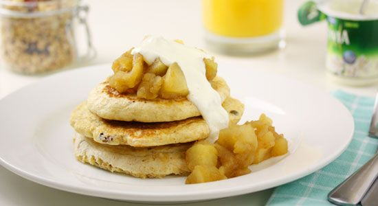 Muesli Pancakes with Cinnamon Apples - weightloss.com.au