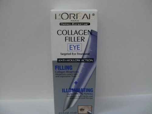 L'Oreal Collagen Filler Eye Treatment by L'Oreal Paris. $14.99. fills crow's feet and expression lines.. minimizes dark circles. L'Oreal Paris Collagen Filler with anti-hollow action.. fragrance-free. safe for contact lens wearers. Sometimes a good night's sleep just isn't enough to refresh tired eyes and remove signs of fatigue and aging. For dark circle caused by under-eye hollows, as well as crow's feet and expressions lines, typical eye treatments are not enough.   ACTIONS...
