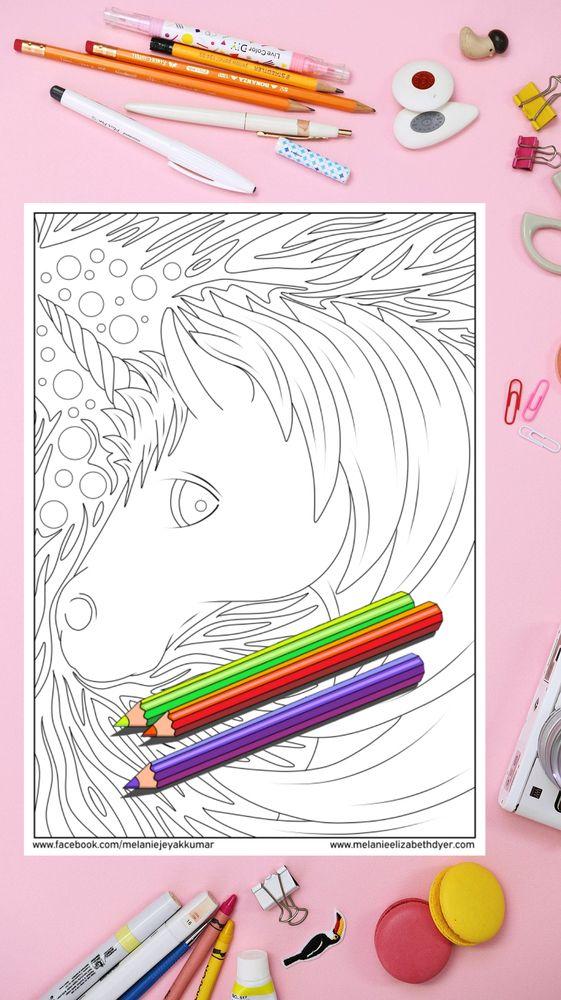 Unicorn Head Colouring Page Printable PDF digital download ...