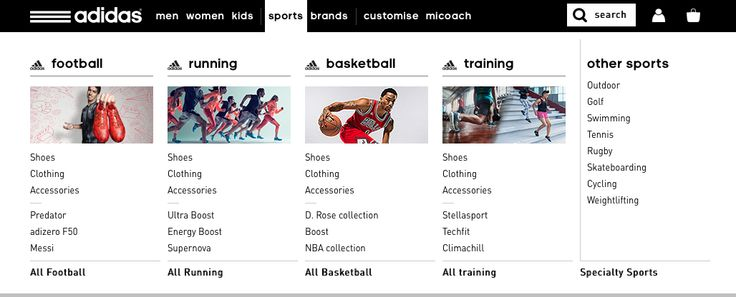 Mega menu with department images.