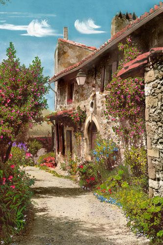 Beautiful French farmhouse! I like the color of the stone with the red roof