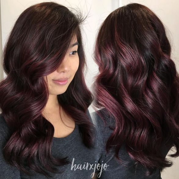 Gorgeous waves and Aubergine hair ❤️❤️❤️ // root touch up, lowlights & deep violet glaze // Hair: Joanne - PR at Partners - Tysons Corner
