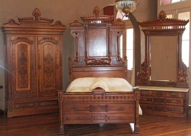 Rennaissance revival bedroom furniture outstanding 1870 for American black walnut bedroom furniture