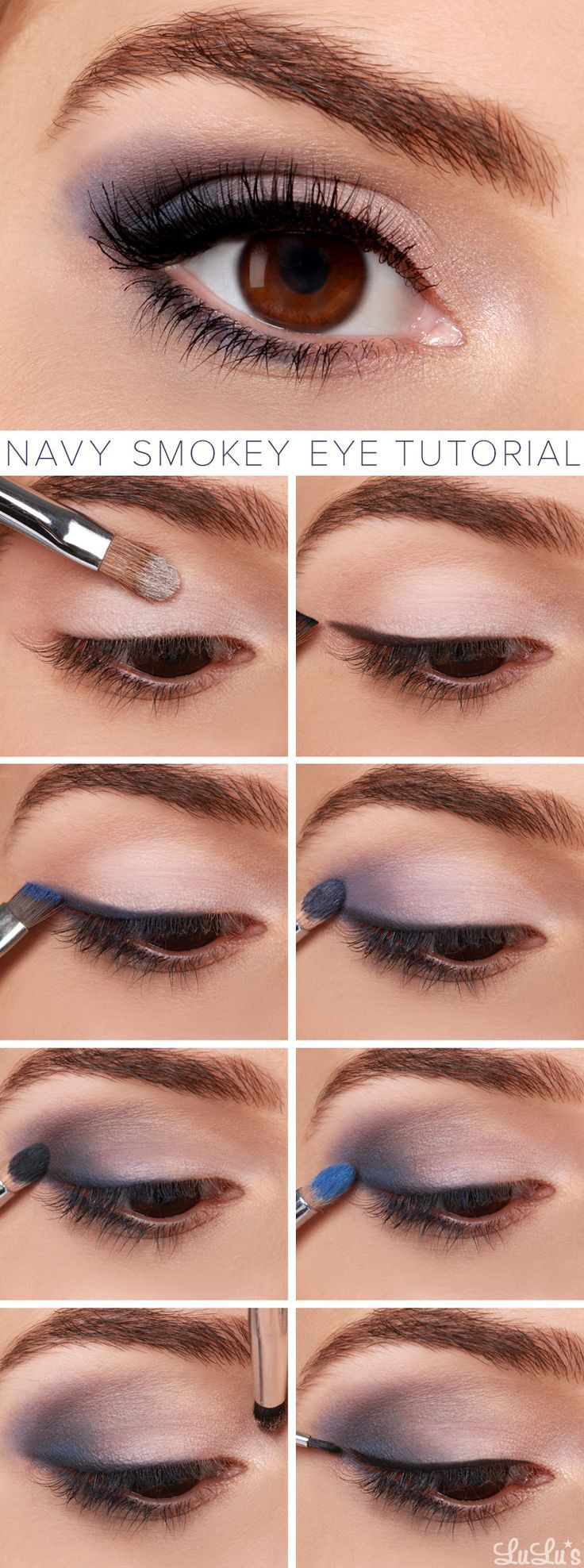 Navy Smokey Eye Makeup Tutorial // See the Latest and #Hotest 2015 #Makeup Trends on: http://www.everydaynewfashions.com/