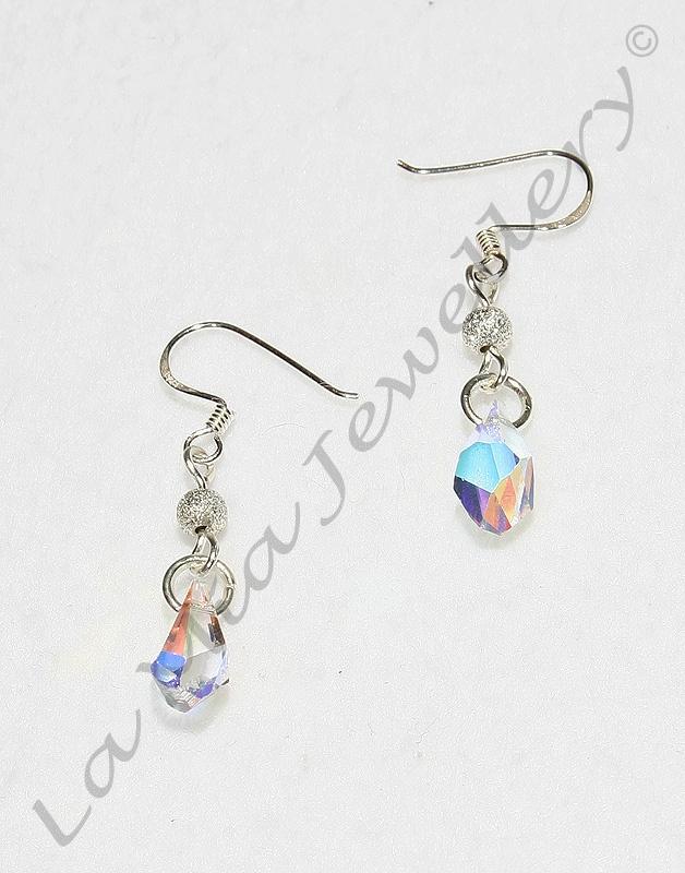 Swarovski Crystal Asymmetrical Drop Earrings - Sterling Silver Hooks