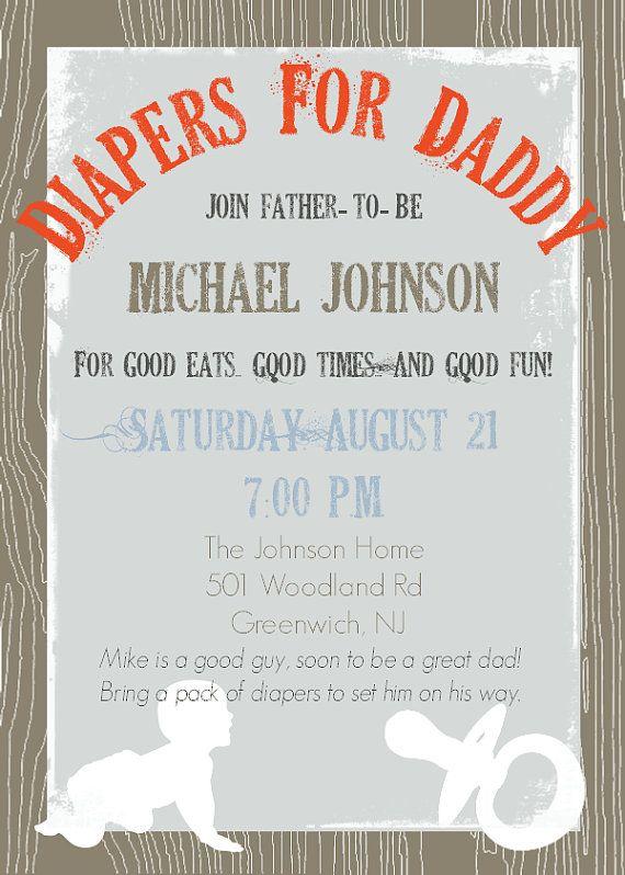 daddy diaper baby shower dad shower invitation