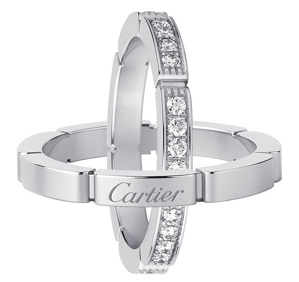 Cartier. Maillon Panthère de Cartier wedding rings. Maillon Panthère de Cartier wedding ring, white gold paved with brilliant cut diamonds. Wedding band in white gold.