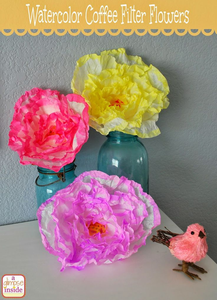 A Glimpse Inside: Watercolored Coffee Filter Flowers