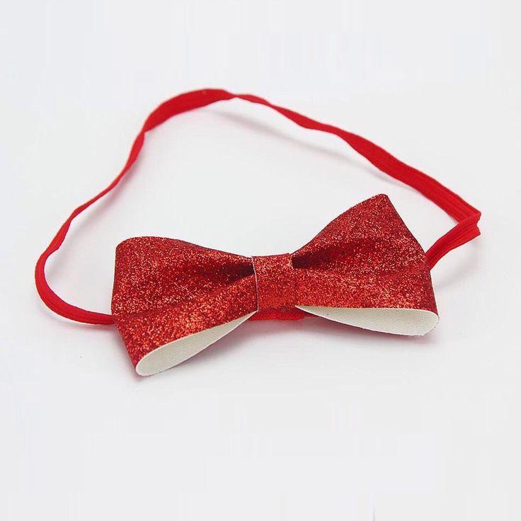 Red Bow Headband Hairband Bow Birthday Prop Glitter Princess Cakesmash Christmas  | eBay