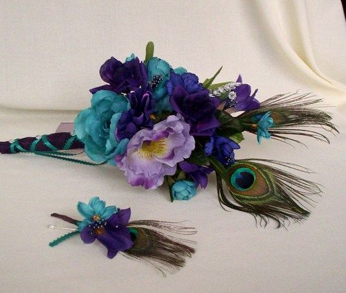 Stunning Peacock Wedding flower package in purple teal 12 pieces | AmoreBride - Wedding on ArtFire