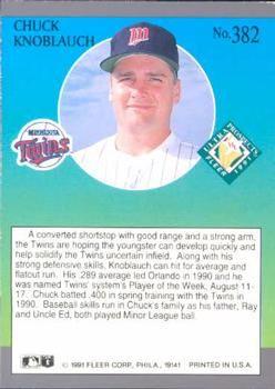 chuck knoblauch trading cards | 1991 Ultra #382 Chuck Knoblauch Back