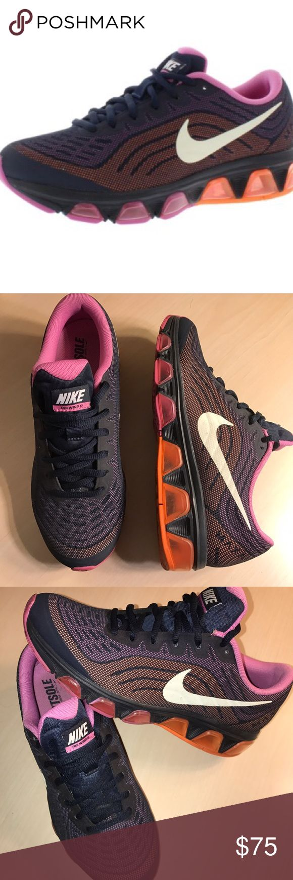 Nike Tailwind 6 Running Obsidian/Sail/Red Violet/Atomic Oran.  Showcasing a bang-up blend of durable cushioning and fast fashion, the Nike Air Max Tailwind 6 running shoe is sure to enhance your comfort and style, mile after mile. This neutral running shoe features a lightweight and supportive foam upper that keeps you fast and flexible. Breathable top mesh increases airflow, keeping your feet cool and dry as you spark your fitness. Nike Shoes Sneakers