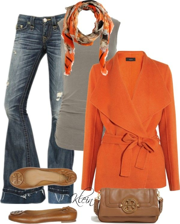 Great Fall Outfit- love the orange and brown but if I do black I have the perfect game day outfit! Who Dey!