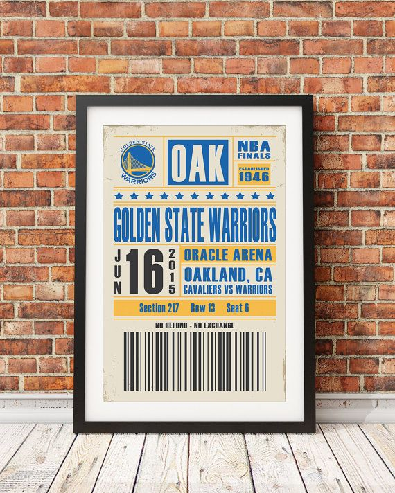 *** All images used are for illustrative purposes only. Please refer to the print description below for the actual size. ***  Golden State Warriors Ticket Poster  Customizations are available upon request. Simply type the appropriate game information (date, opponent, and seat information) in the note to seller section at the time of purchase.  We print this design using Epson Photo Stylus UltraChrome K3™ ink technology on high quality, professional paper to ensure vivid colors and long…