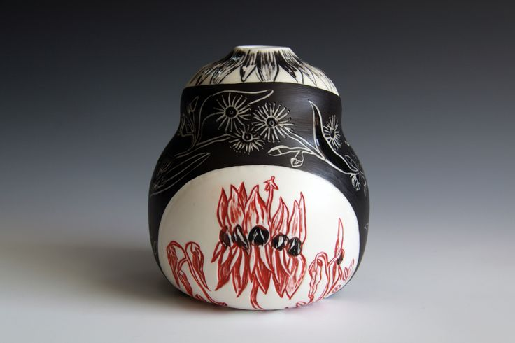 Native window, gourd. Featuring a wrapped design with eucalyptus and Sturt's Desert Pea.