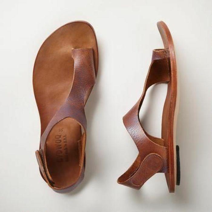 sandales en cuir marron, comment porter les spartiates femme