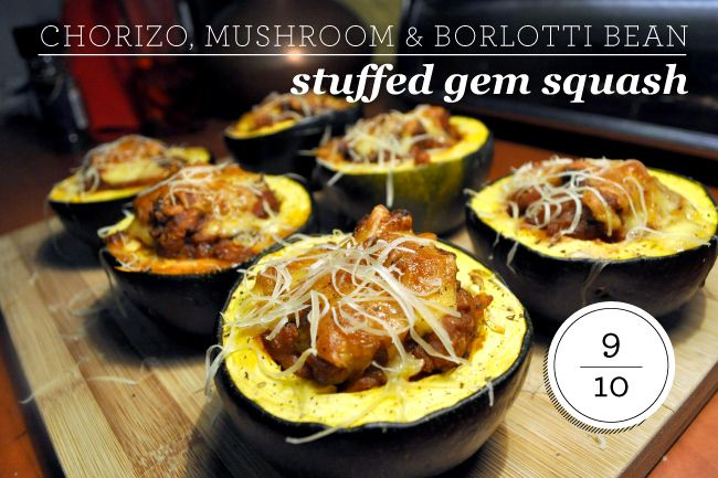Chorizo, mushroom & borlotti bean stuffed gem squash