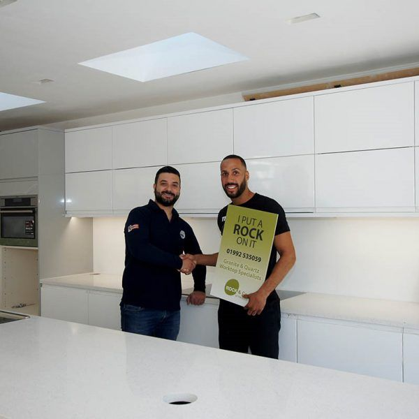 We had the pleasure in working with James DeGale to turn his parent's kitchen in to a fabulous dream kitchen. They chose the Bianco Stella quartz.
