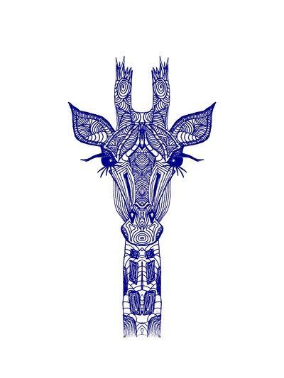GIRAFFE BLUE Art Print