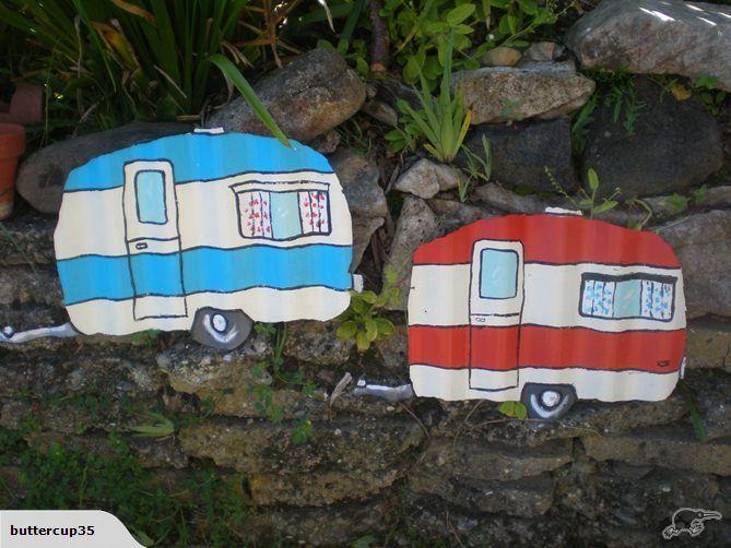 Pair of little caravans fence art made in nz | Trade Me