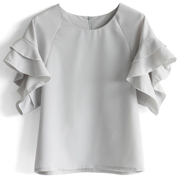 Chicwish Grey Top with Tiered Frill Sleeves ($36) ❤ liked on Polyvore featuring tops, blouses, grey, raglan sleeve top, ruffle blouse, tiered ruffle top, ruffle sleeve blouse and flutter sleeve top