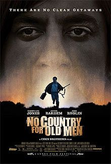 Simply awesome. So many ways to interpret this movie. A clash between the values of the old Western and the gore aspect of modern crime movies Google Image Result for http://upload.wikimedia.org/wikipedia/en/thumb/8/8b/No_Country_for_Old_Men_poster.jpg/220px-No_Country_for_Old_Men_poster.jpg