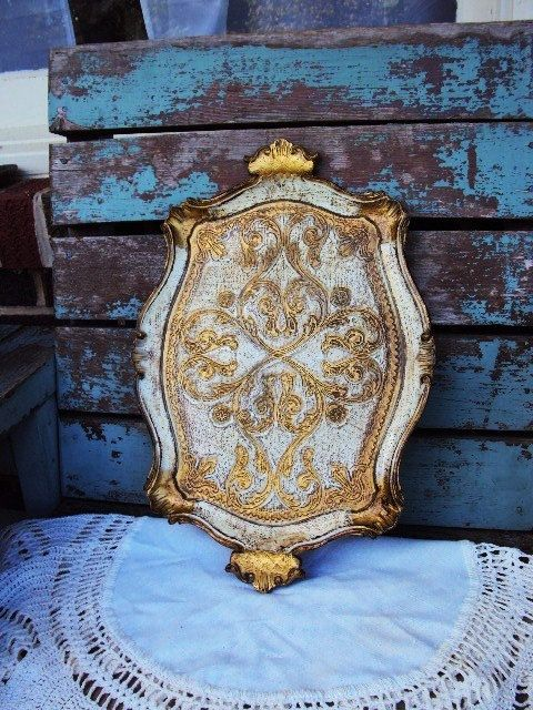 Vintage Italian Florentine Tray Gold Gilt by primitivepincushion, $38.99