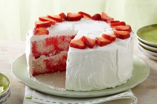 Strawberry-swirl cake    what you need  1pkg. (2-layer size) white cake mix  1pkg. (3 oz.) JELL-O Strawberry Flavor Gelatin  2/3cup BREAKSTONE'S or KNUDSEN Sour Cream  2/3cup powdered sugar  1tub (8 oz.) COOL WHIP Whipped Topping, thawed  1-1/2cups sliced fresh strawberriesmake it  HEAT oven to 350°F.    GREASE and flour 2 (8- or 9-inch) round pan