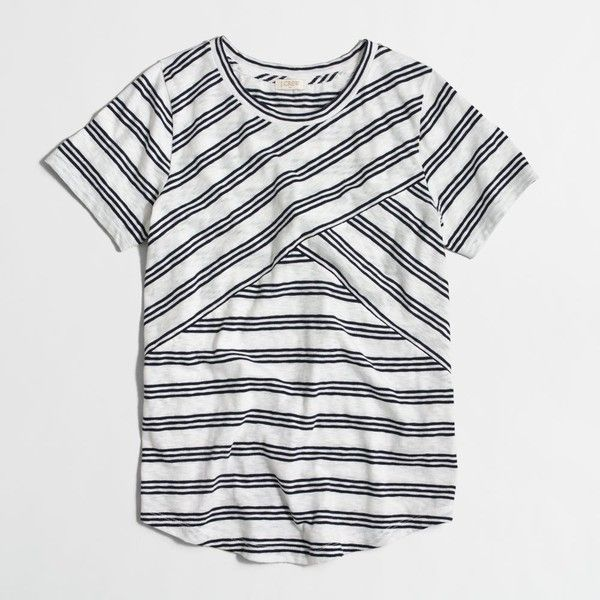 J.Crew Factory cross-striped T-shirt ($21) ❤ liked on Polyvore featuring tops, t-shirts, stripe top, cross top, j crew tee, striped top and stripe tee