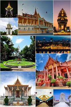 Clockwise, from top: Royal Palace, Phnom Penh, Silver Pagoda, National Museum, Wat Phnom, Choeung Ek, Central Market, Sisowath Quay, Bayon Roundabout, Statue of king Father Norodom Sihanouk