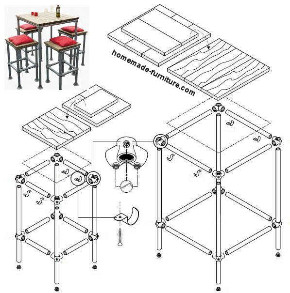 Construction drawing, plan to make a barstool and high bar tables from repurposed scaffolding. Homemade Furniture construction drawings.
