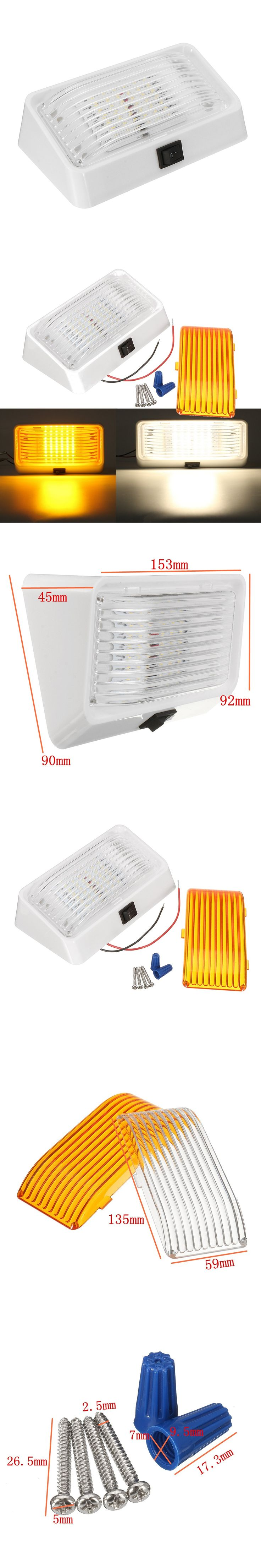 24 LED Roof Ceiling Interior Reading Dome Light For Camper Car RV Boat Trailer 12V Porch Light Rectangle Clear Amber