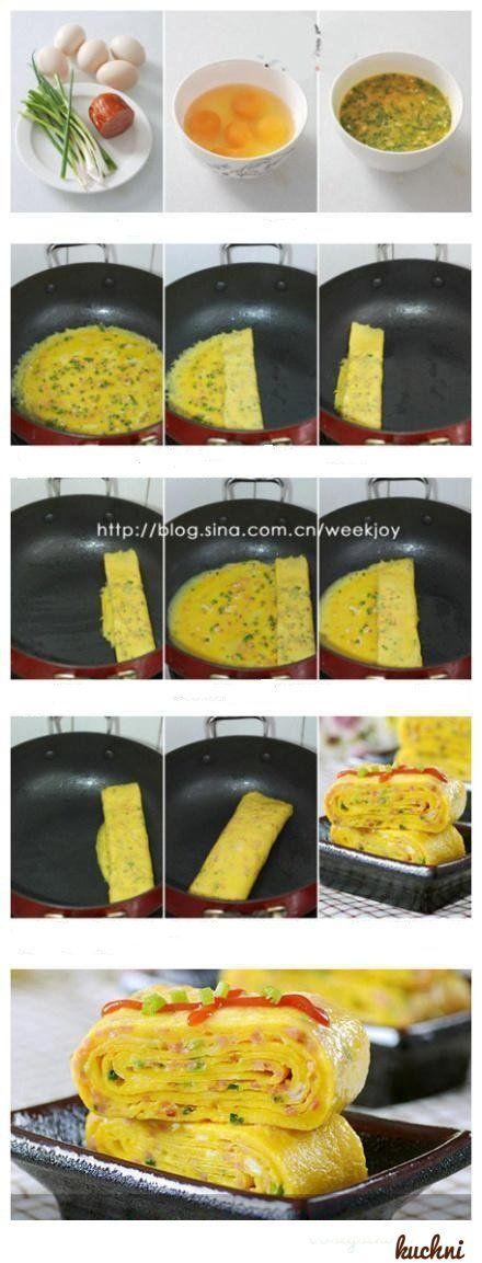 Przepis na składany omlet z dymką i kiełbaską...
