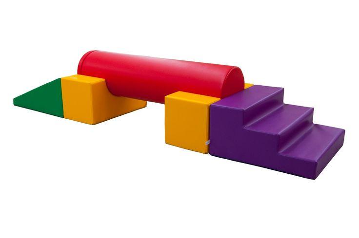 Parcours de motricité avec poutre (4 modules) - Parcours de motricité pour les tout petits avec 1 rampe, 1 escalier, 1 cylindre et 2 supports. #espaces #coin #aménagement #enfant #modules #motricité #forme #couleur #ludique