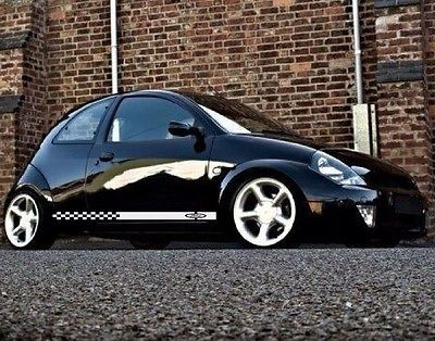 Decal Sticker Rayas Kit Para Ford Ka   Espejo Ala Fronda Cromo Carbono Tune Ebay