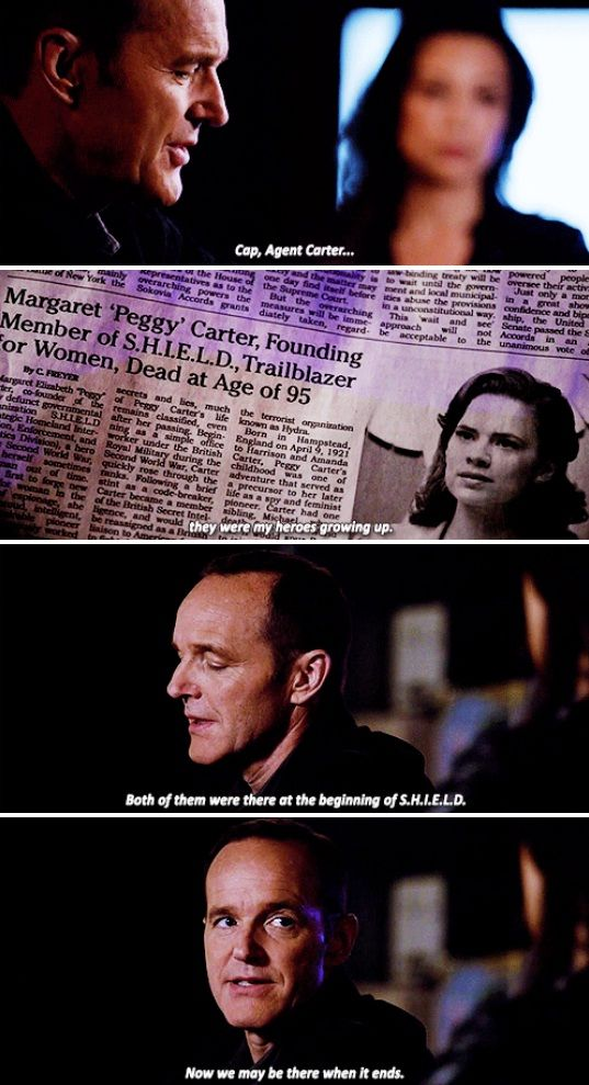 "Coulson: Cap, Agent Carter... they were my heroes growing up. Both of them were there at the beginning of S.H.I.E.L.D. Now we may be there when it ends. #Marvel Agents of S.H.I.E.L.D. #AoS #AgentsofSHIELD 3x20 ""Emancipation"""