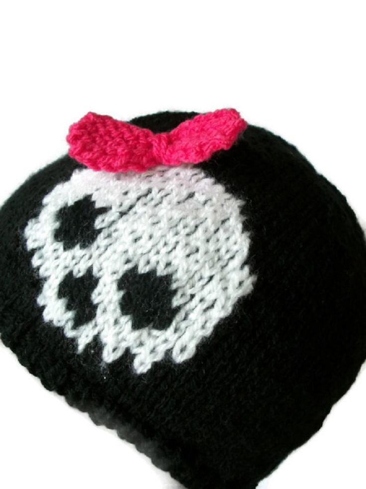 Skull Bow Hat Child Women beanie knitted goth emo by thekittensmittensuk on…
