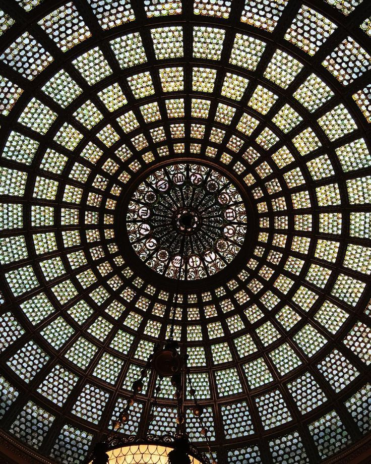 Stained glass dome in the Grand Army of the Republic Hall rotunda at the Chicago Cultural Center